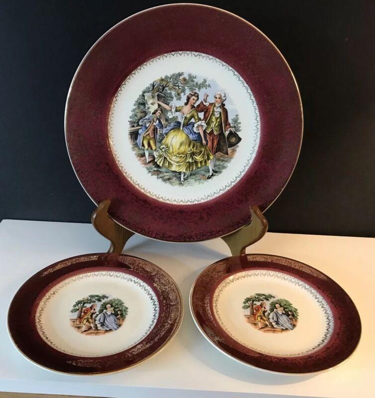 Virginia Maroon Salem China Plates 1-dinner/serving 2-dessert 23 karat gold 1950