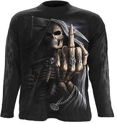 Spiral Direct BONE FINGER Long Sleeve T-shirt Biker/Tattoo/Skull/Reaper/Goth/Top