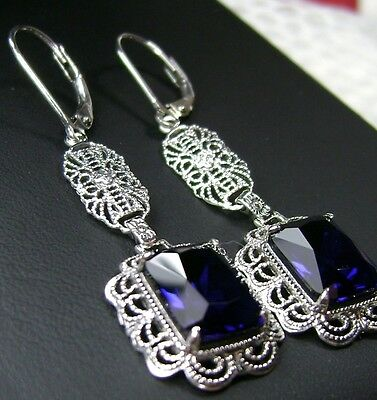 *Sapphire* Sterling Silver Festoon Victorian Filigree Earrings {Made to Order}