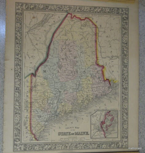 County Map of Maine 1860  Hand colored.  S. Agustus Mitchell