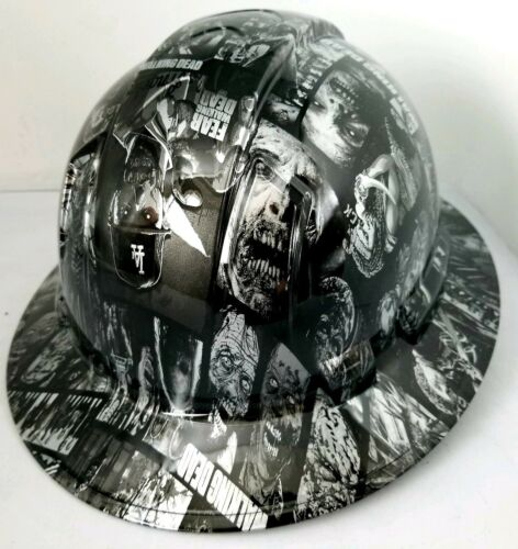 FULL BRIM Hard Hat custom hydro dipped SILVER N BLACK WALKING DEAD ZOMBIE SICK 3