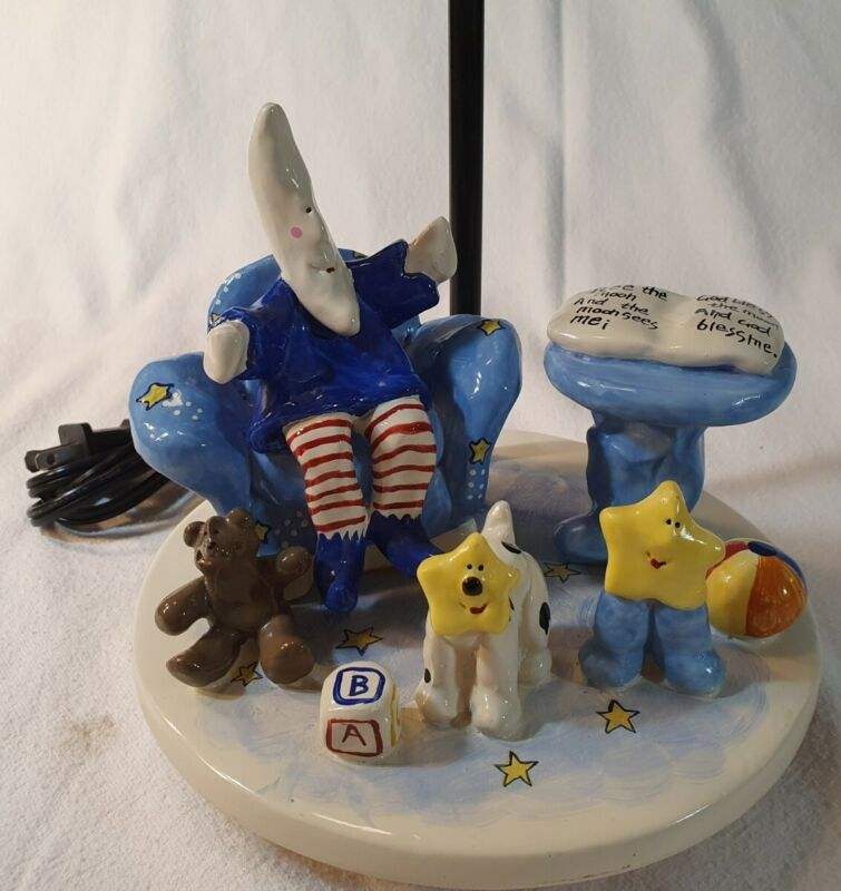 Robin Russell Moon & Star Nursery Lamp 2003 Unique Clay Art No Shade Works Great