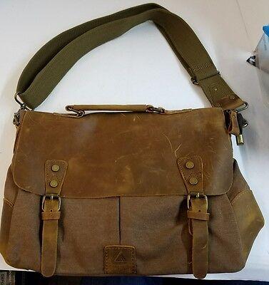 Langforth Messenger Bags Genuine Leather Vintage 14quot; Laptop Canvas Messenger