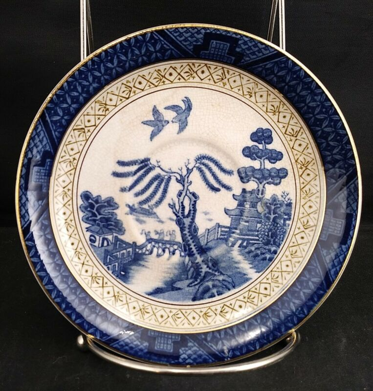 Ironstone Ware Cake/Salad Plate Blue Willow Pattern Made Occupied Japan Gilded