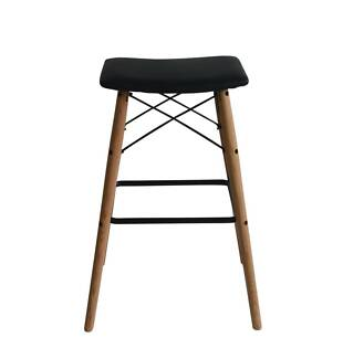 Set of 2 Saddle black barstools with Natural solid Red oak legs