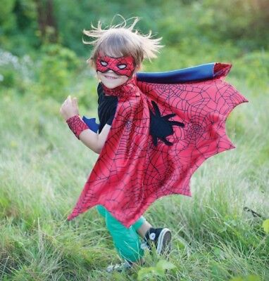 Great Pretenders Boy's Spider Cape with Mask and Wristbands Costume Set (S 4-6)