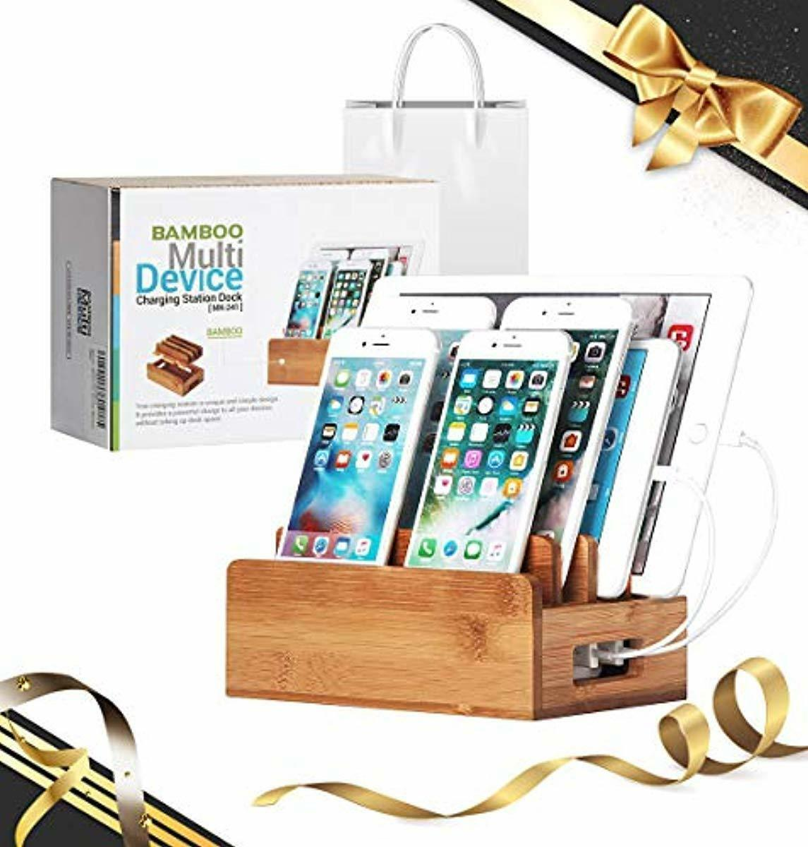 Docking Station Wood iPhone iPad Multi Devices Charging Nigh