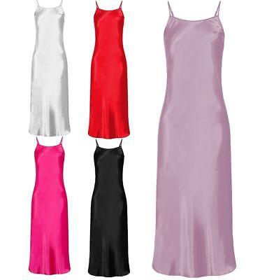 Nine X Womens Long Satin Chemise Plus Size 8-24 S-6XL Lingerie Babydoll Black ()
