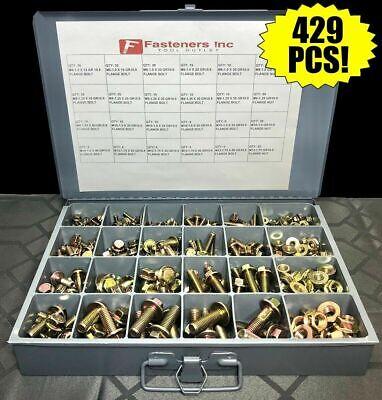 429 Piece Grade 10.9 Metric Flange Bolt Flange Nut Assortment Kit Yellow Zinc