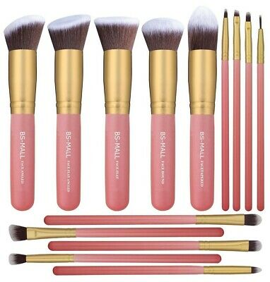 BS-MALL New 14 Pcs Makeup Brushes Premium Synthetic Kabuki M