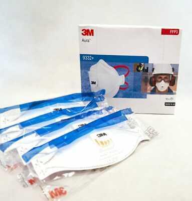 10xstk 3M FFP3 Aura 9332+ Mundschutz Gesichtsmaske mit Ventil, MHD bis 2025