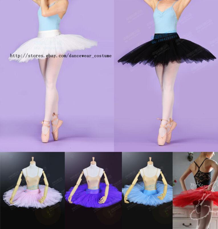 NWT Ladies Professional Ballet Hard Organdy Platter Tutu Skirt Dance Dress 6colo