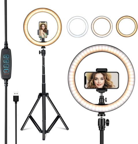 "10"" 8"" Selfie Ring Fill Light with Tripod Stand Ringlight for Live Stream Makeup"