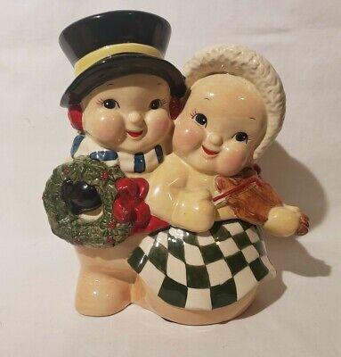 VINTAGE ALDIK SNOW COUPLE CERAMIC COOKIE JAR Holidays Christmas