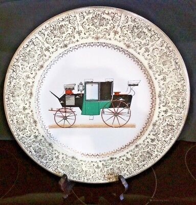 Vintage Carriage Imperial Salem Service Cake Dinner Plate 23K Gold Usa 10 75