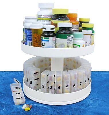 North American Health   Wellness Revolving Medicine Center Pill Organizer White