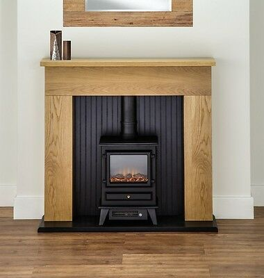 ELECTRIC FIRE STOVE OAK MANTLE AND BLACK FIREPLACE MODERN SURROUND FREESTANDING‏