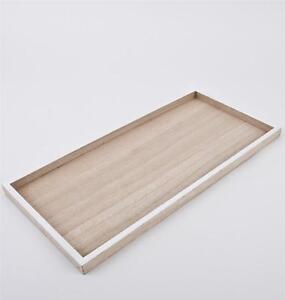 Tablett rechteckig Design Holz 46x22x2cm natur weiss Dekoschale