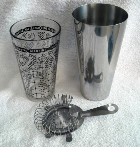 Vintage Glass Steel Cocktail Drink Shaker Strainer Retro Man Cave Black Writing
