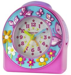 JACQUES FAREL Kids' Alarm Clock Analog Quartz Girls Butterfly Acw 69 Pink