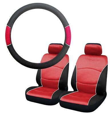 Black & Red Steering Wheel Cover & Front Seat Cover Set Washable Airbag Safe