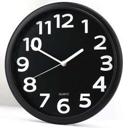 12 Non-Ticking Round Wall Clock Silent Quartz Movement Big Number Display Clock