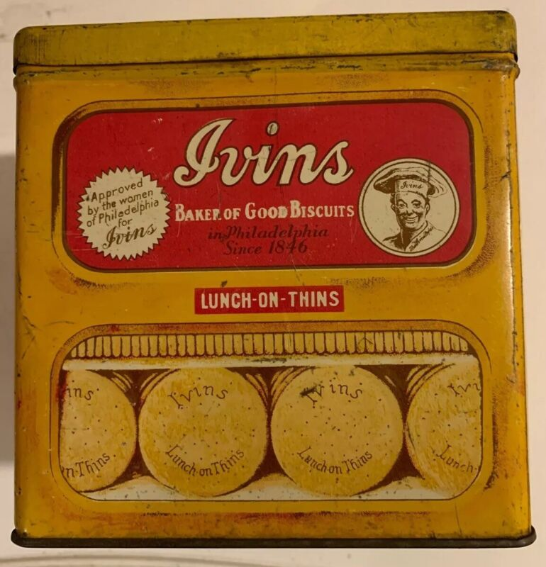 Vintage Ivins of Philadelphia Biscuit Cookie Tin Lunch-On-Thin Advertising Bin