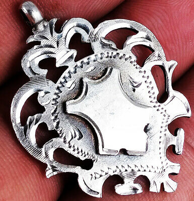 BEAUTIFUL ANTIQUE SOLID SILVER SOLID SILVER ALBERT CHAIN FOB MEDAL
