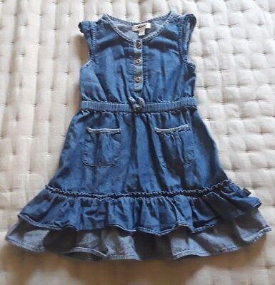 CUTE LITTLE GIRL'S DKNY TWO-TONE DENIM RUFFLE DRESS SIZE 3T   (Dkny Little Girl)