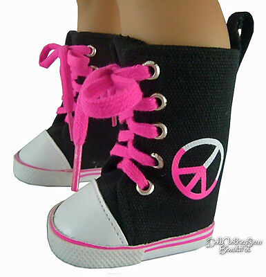 """Peace Sign Black Canvas Sneakers Boots made for 18"""" American Girl Doll Clothes"""