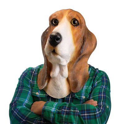 Bowser Basset Hound Dog Face Mask ~ Latex Halloween Costume  - Big Mouth Toys  - Basset Hound Costumes Halloween