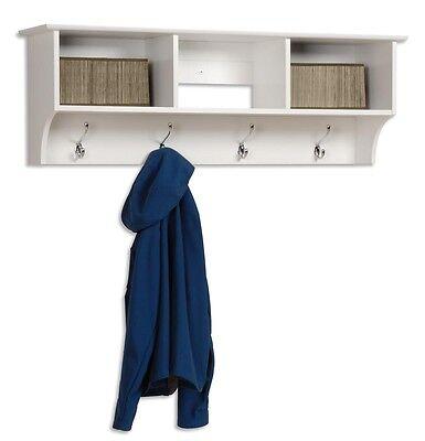 Hallway Coat Storage Entryway Cubbie Shelf - White NEW