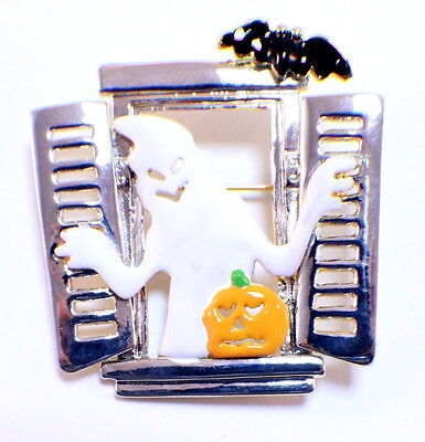 Halloween Ghost in a Haunted Window Pin - A Halloween Ghost
