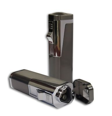 Triple Flame Cigar Torch Lighter with Cigar Punch Cutter (Gun Metal)