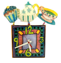 Colorful Cupcake Wall Clock Contemporary Teapot Teacup Kitch Hand Painted Art