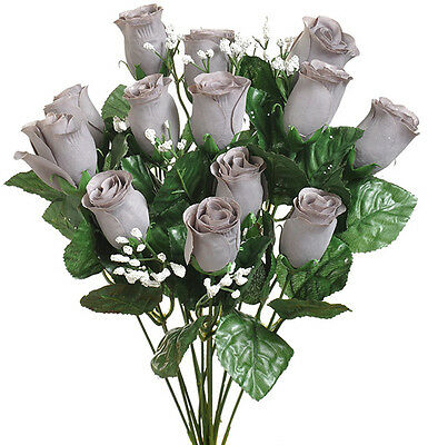 14 Gray Long Stem Roses Buds ~ Silk Wedding Flowers Centerpieces Bride Bouquets