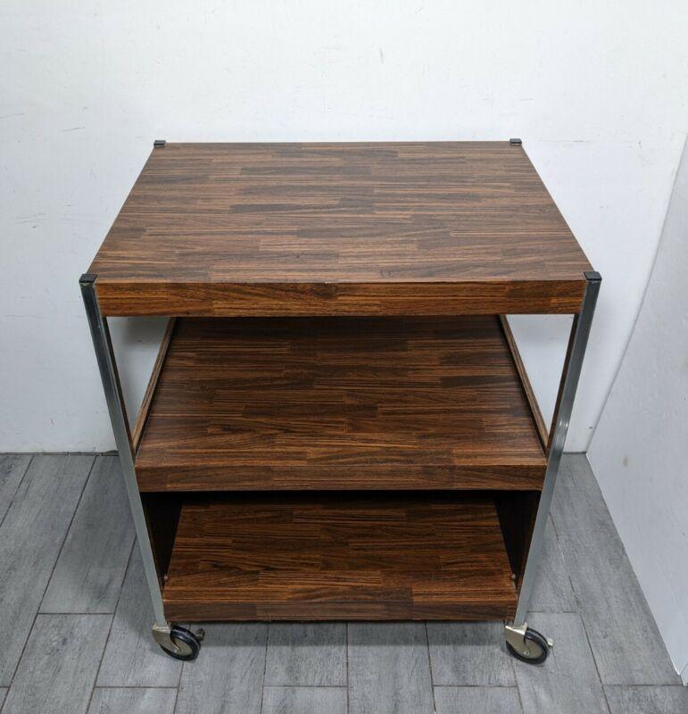 Vintage Formica Faux Wood & Metal 3-Tier Media/Utility Cart Mid Century Modern