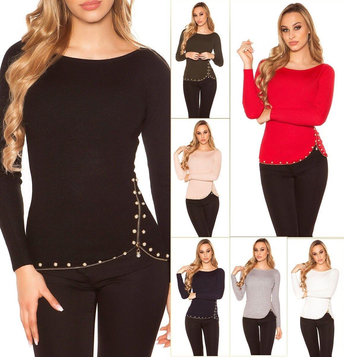 Enzoria Damen Pullover Strickpullover mit Dekoperlen und Zip