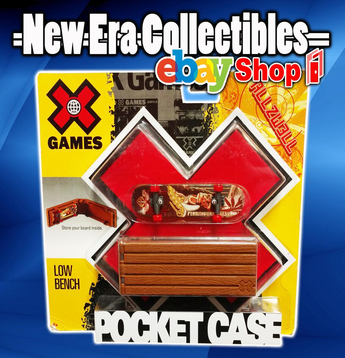 X Games Espn Allzwell Skateboards 96mm Fingerboard Pocket Case Bank Slide Mattel