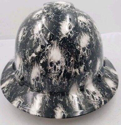 Full Brim Hard Hat Custom Hydro Dipped White Smoking Skulls Super Sick New