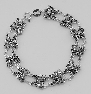 Lovely Filigree Butterfly Bracelet - Sterling Silver - Free Shipping