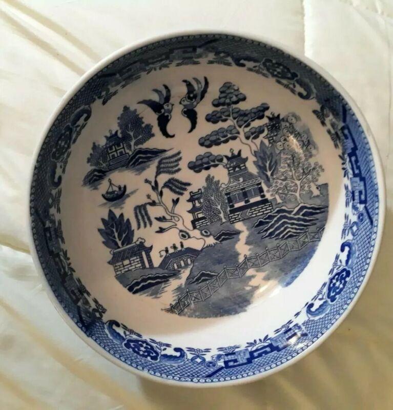 "Vintage BLUE WILLOW Large 9 3/4"" round  SERVING/ SALAD BOWL Unmarked."