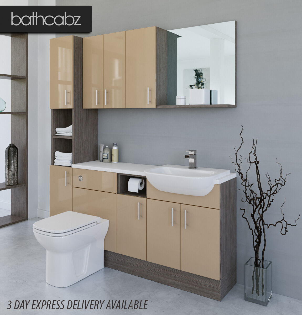 Grey Bathroom Furniture Uk: CAPPUCCINO / GREY BROWN AVOLA BATHROOM FITTED FURNITURE