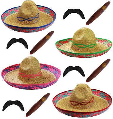 MEXICAN SOMBRERO STRAW HAT ADD MOUSTACHE CIGAR BANDIT FANCY DRESS - Moustache Straw