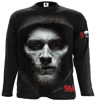 SPIRAL DIRECT JAX SKULL Long Slve T Shirt Sons of Anarchy/Redwood Samcro/Gun/SOA