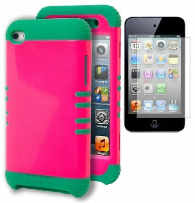 iPod Touch 4 Case, Hybrid Teal Silicone + Hot Pink Hard Cover +Screen Protector ()