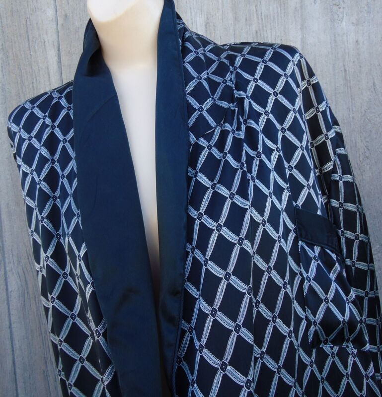 Vtg 100% Silk Black Silver Smoking Jacket SFA Long Dressing Robe L No Belt AS IS