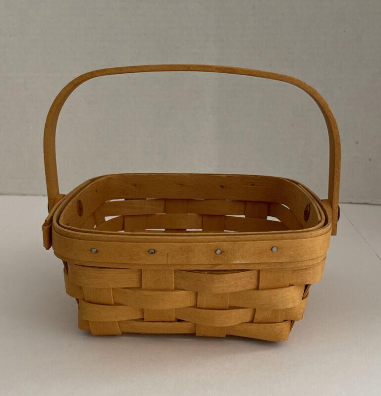 Longaberger 1999 Small Square Berry Basket Swing Handle