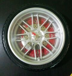 11 Tire Rim Tool Clock - AUTOMOTIVE COLLECTABLE With Real Rubber Tire Red