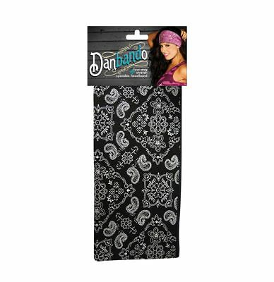 Black White Western Paisley Danbando Bandanna Head Wrap Sweatband - Black And White Bandana